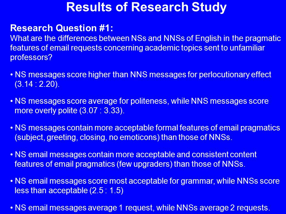 Results of Research Study Research Question #1: What are the differences between NSs and NNSs of English in the pragmatic features of email requests concerning academic topics sent to unfamiliar professors.