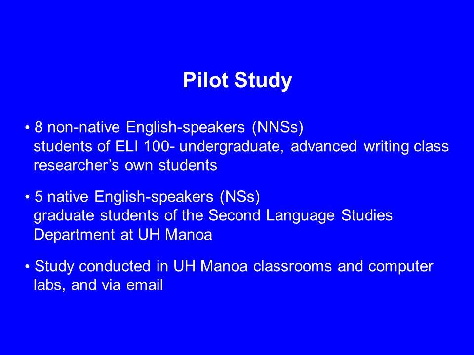 Pilot Study 8 non-native English-speakers (NNSs) students of ELI 100- undergraduate, advanced writing class researcher's own students 5 native English
