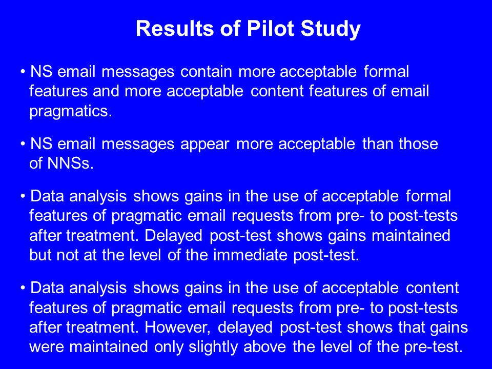 Results of Pilot Study NS email messages contain more acceptable formal features and more acceptable content features of email pragmatics.