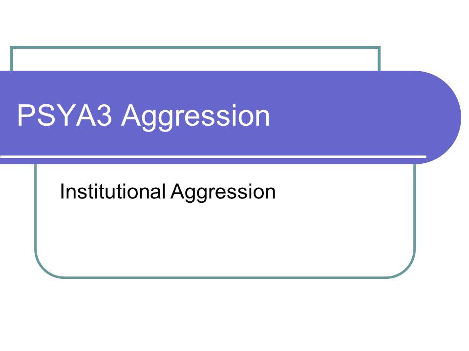PSYA3 Aggression Institutional Aggression