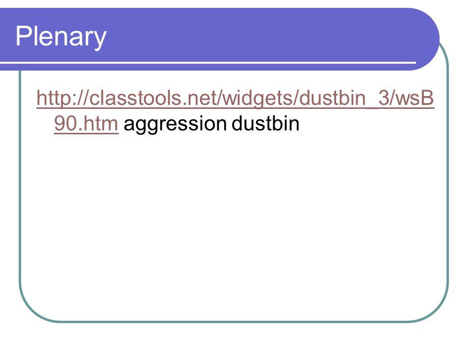 Plenary http://classtools.net/widgets/dustbin_3/wsB 90.htmhttp://classtools.net/widgets/dustbin_3/wsB 90.htm aggression dustbin