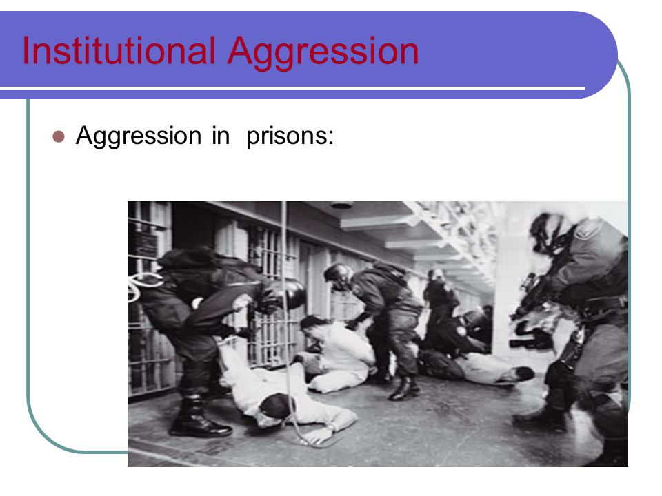 Institutional Aggression Aggression in prisons: