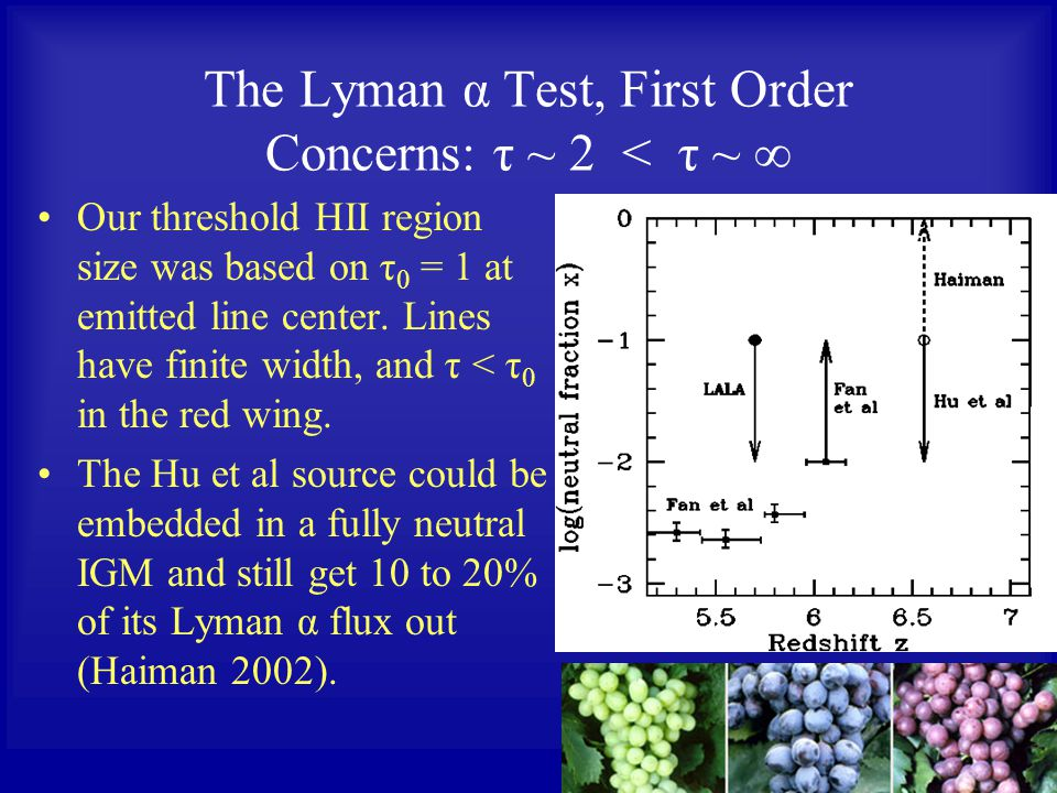 The Lyman α Test, First Order Concerns: τ ~ 2 < τ ~ ∞ Our threshold HII region size was based on τ 0 = 1 at emitted line center.