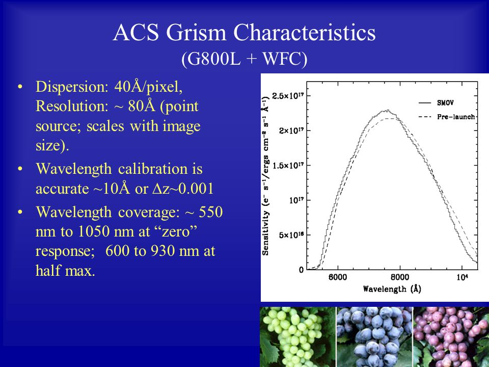 ACS Grism Characteristics (G800L + WFC) Dispersion: 40Å/pixel, Resolution: ~ 80Å (point source; scales with image size).