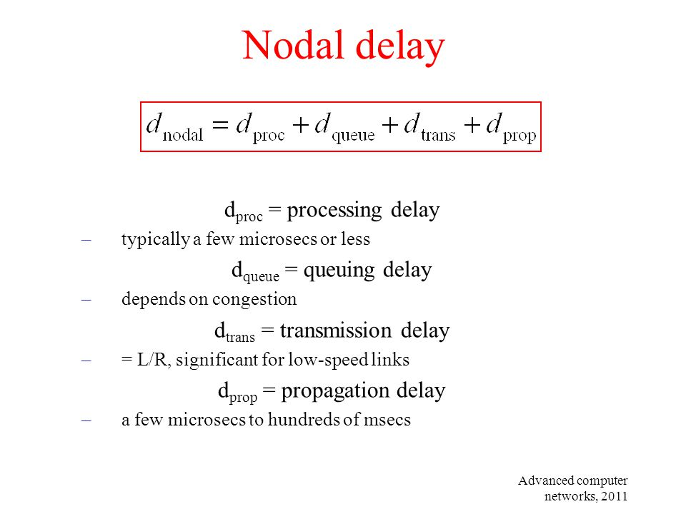 Advanced computer networks, 2011 Nodal delay d proc = processing delay –typically a few microsecs or less d queue = queuing delay –depends on congesti
