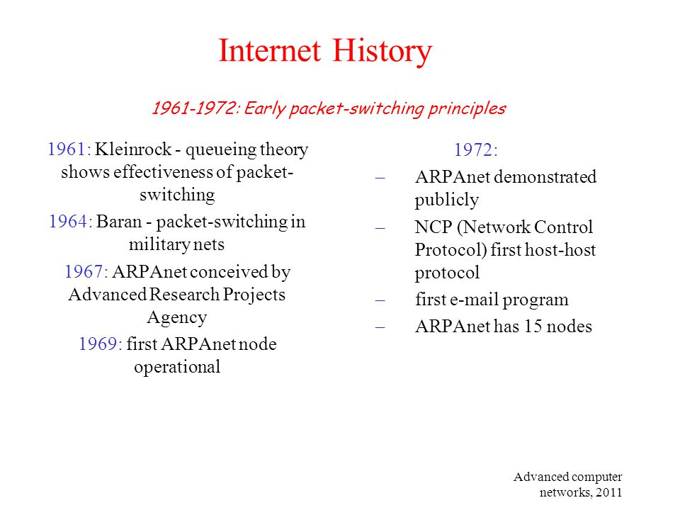Advanced computer networks, 2011 Internet History 1961: Kleinrock - queueing theory shows effectiveness of packet- switching 1964: Baran - packet-swit