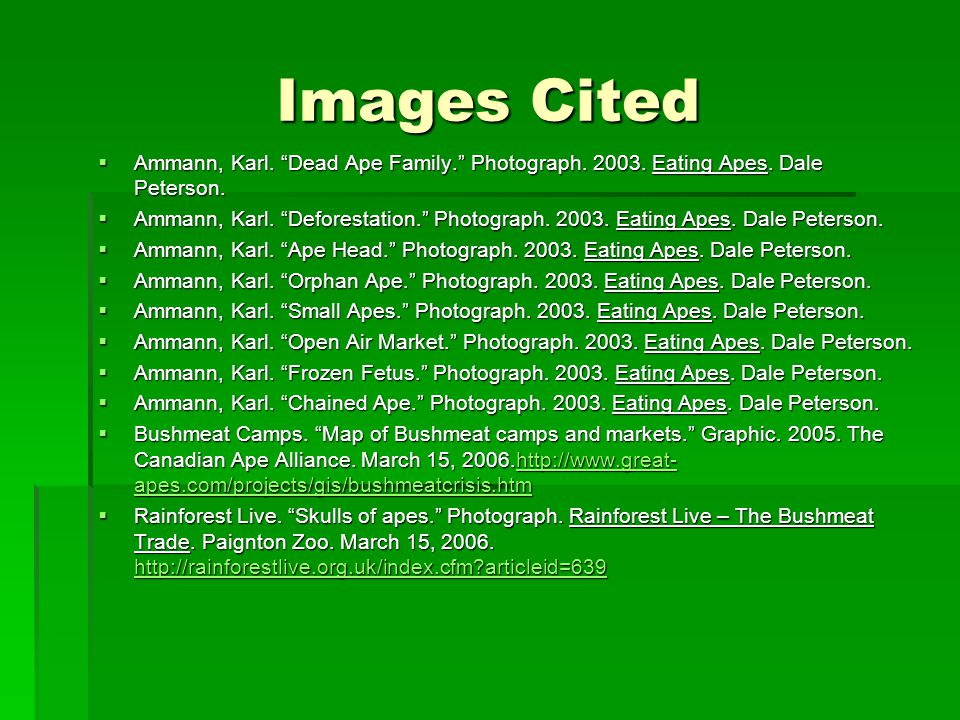 Images Cited  Ammann, Karl. Dead Ape Family. Photograph.