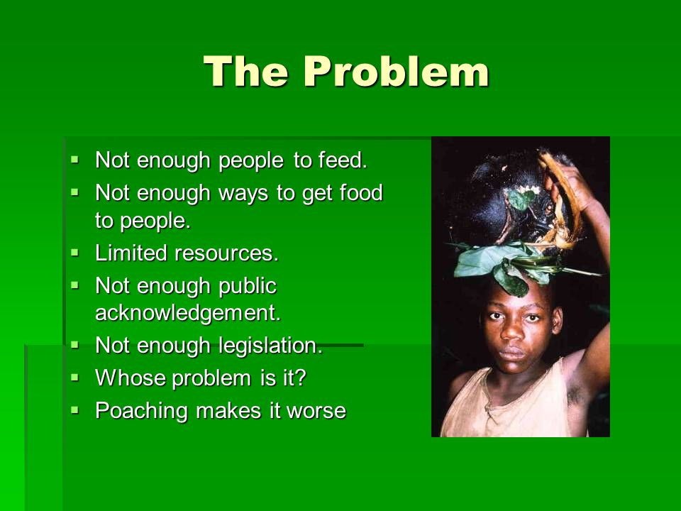 The Problem  Not enough people to feed.  Not enough ways to get food to people.