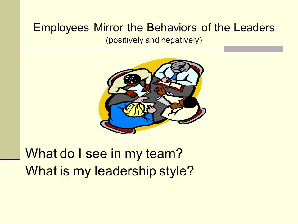Employees Mirror the Behaviors of the Leaders (positively and negatively) What do I see in my team? What is my leadership style?