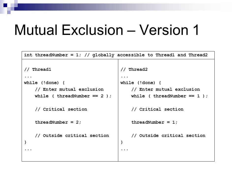 Mutual Exclusion – Version 1 // Thread1...