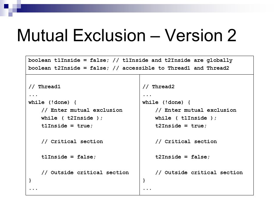 Mutual Exclusion – Version 2 // Thread1...
