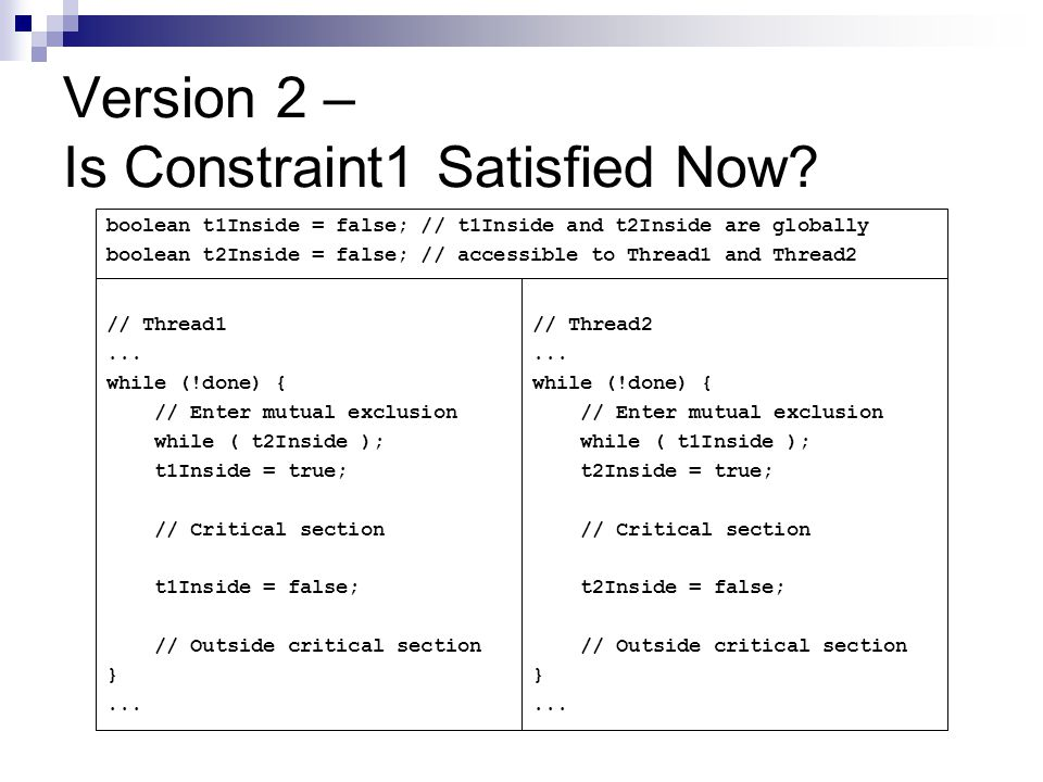 Version 2 – Is Constraint1 Satisfied Now.// Thread1...