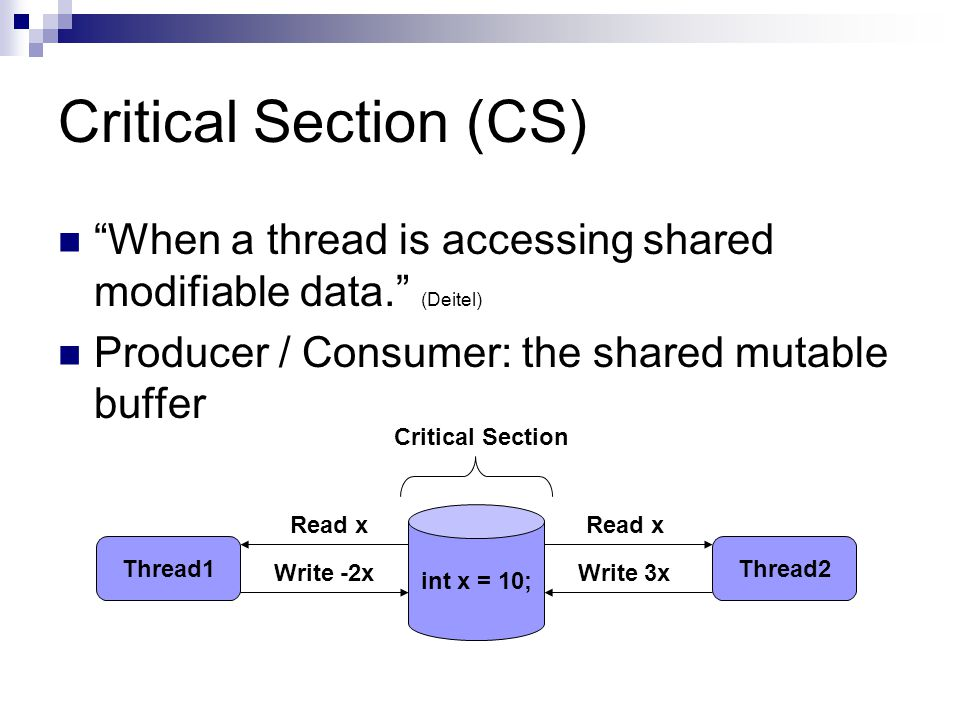 Critical Section (CS) When a thread is accessing shared modifiable data. (Deitel) Producer / Consumer: the shared mutable buffer int x = 10; Thread1Thread2 Read x Write 3xWrite -2x Critical Section