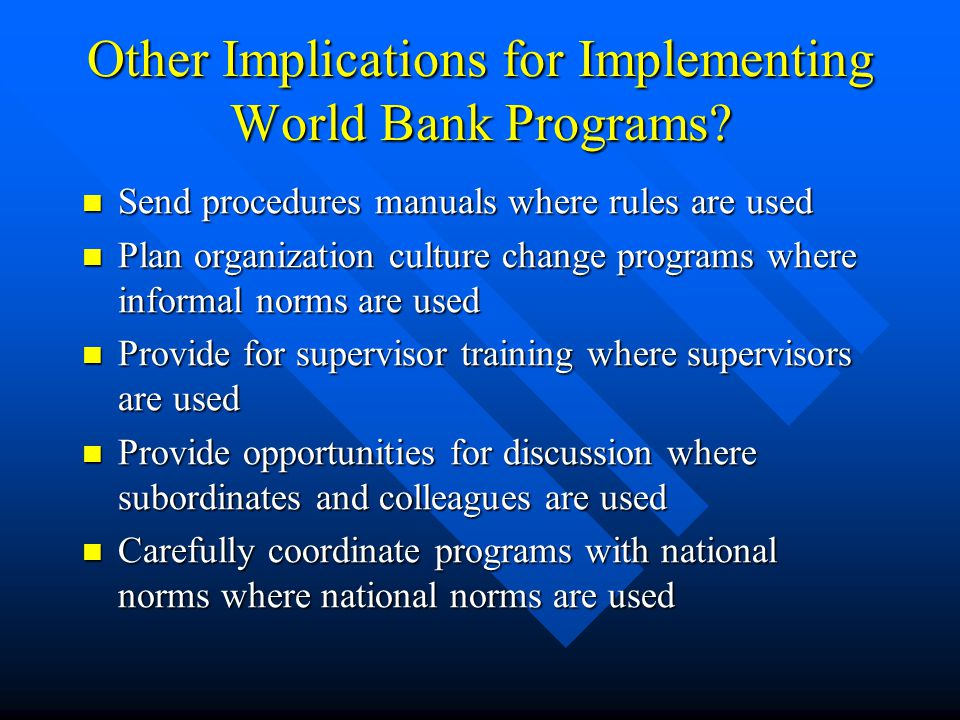 Other Implications for Implementing World Bank Programs? Send procedures manuals where rules are used Send procedures manuals where rules are used Pla