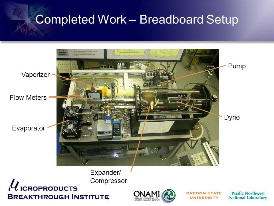 Completed Work – Breadboard Setup Evaporator Flow Meters Vaporizer Pump Dyno Expander/ Compressor