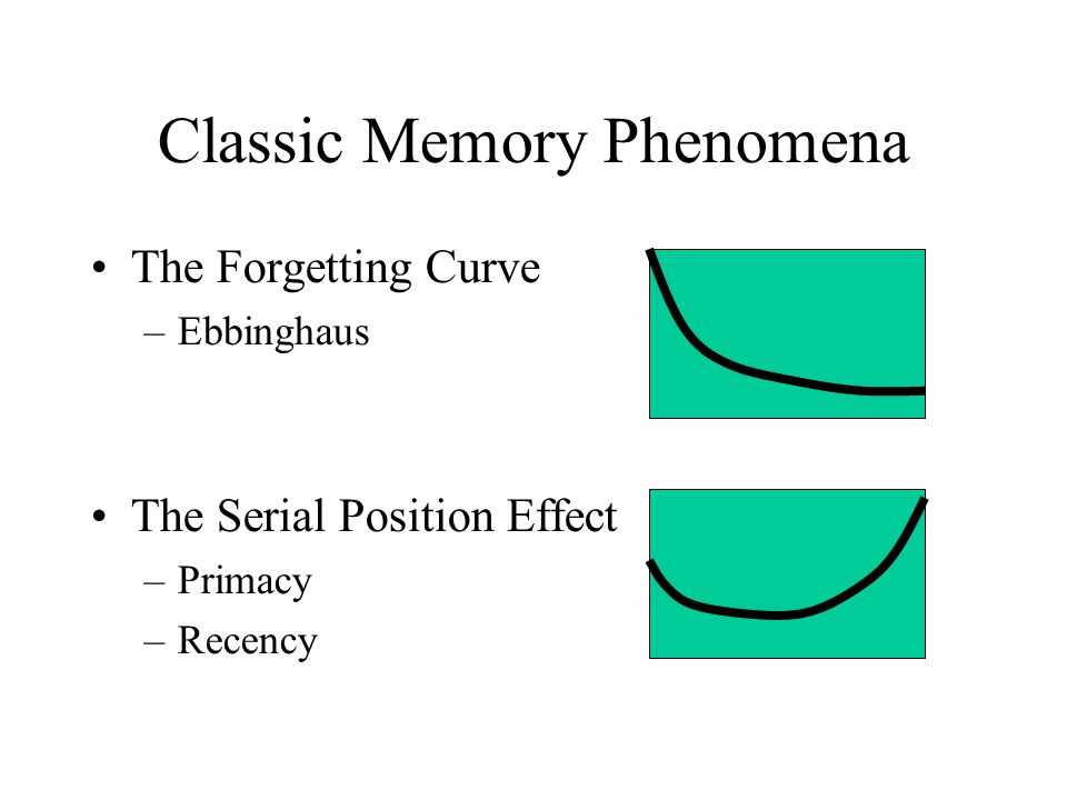 The Serial Position Effect Occurs over both short and long retention intervals –Memory for US presidents Greater recency effect for auditory than visual presentation Suffix Effect – hearing another spoken word after the last item in the list reduces recency