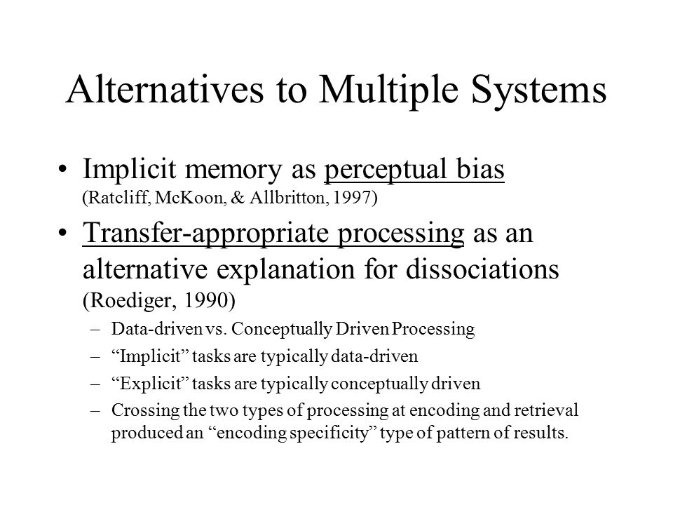Failures of Memory Sources of Forgetting –Decay –Interference –Poor retrieval cues (think encoding specificity) Massed vs.
