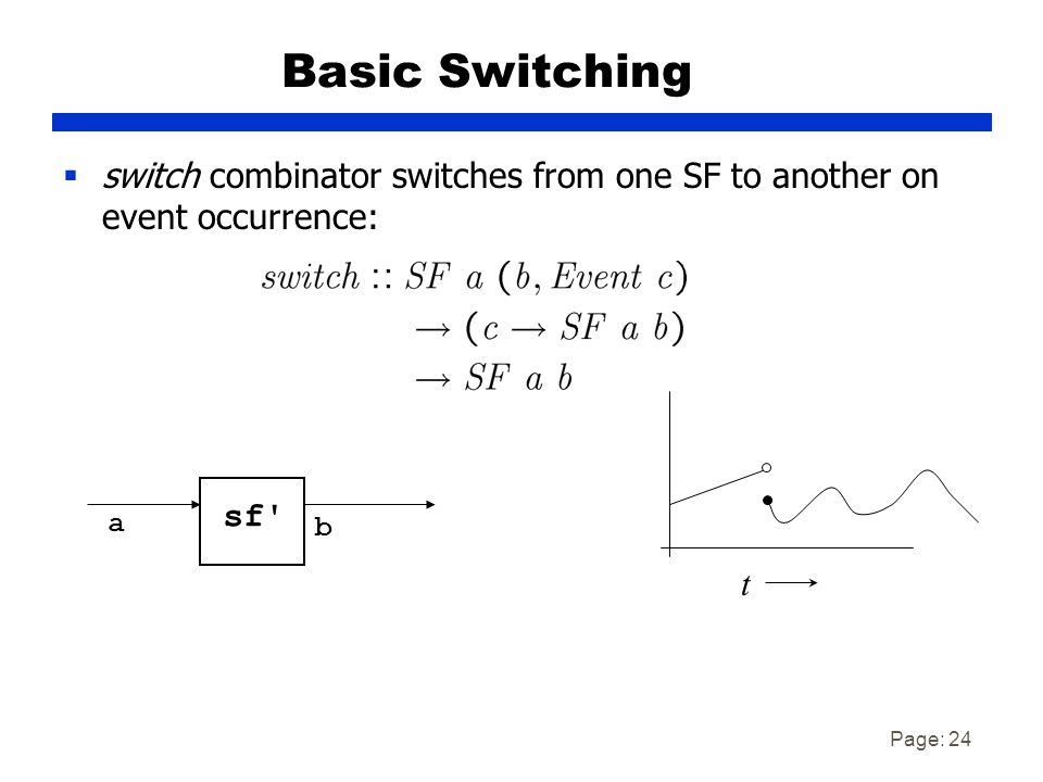 Page: 24 Basic Switching  switch combinator switches from one SF to another on event occurrence: a b t sf