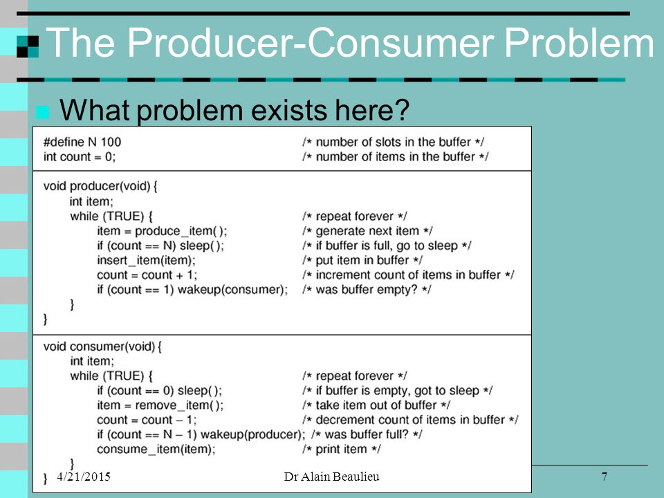 The Producer-Consumer Problem What problem exists here? 4/21/20157Dr Alain Beaulieu