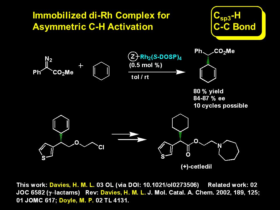 Immobilized di-Rh Complex for Asymmetric C-H Activation C sp3 -H C-C Bond
