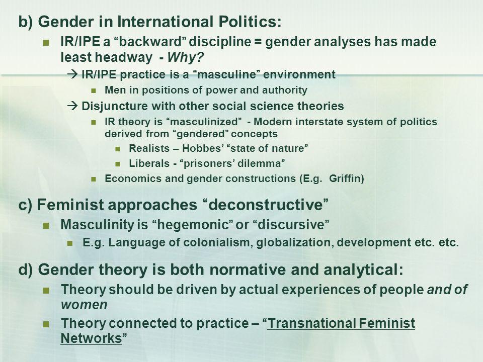 b) Gender in International Politics: IR/IPE a backward discipline = gender analyses has made least headway - Why.