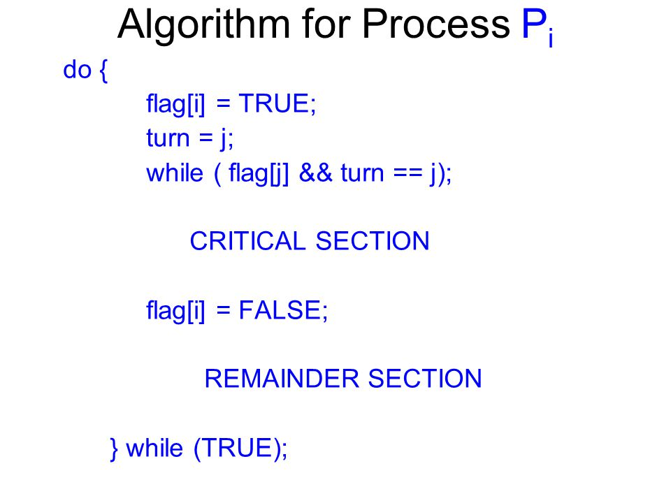 Algorithm for Process P i do { flag[i] = TRUE; turn = j; while ( flag[j] && turn == j); CRITICAL SECTION flag[i] = FALSE; REMAINDER SECTION } while (T