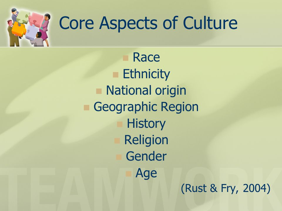 Core Aspects of Culture Race Ethnicity National origin Geographic Region History Religion Gender Age (Rust & Fry, 2004)