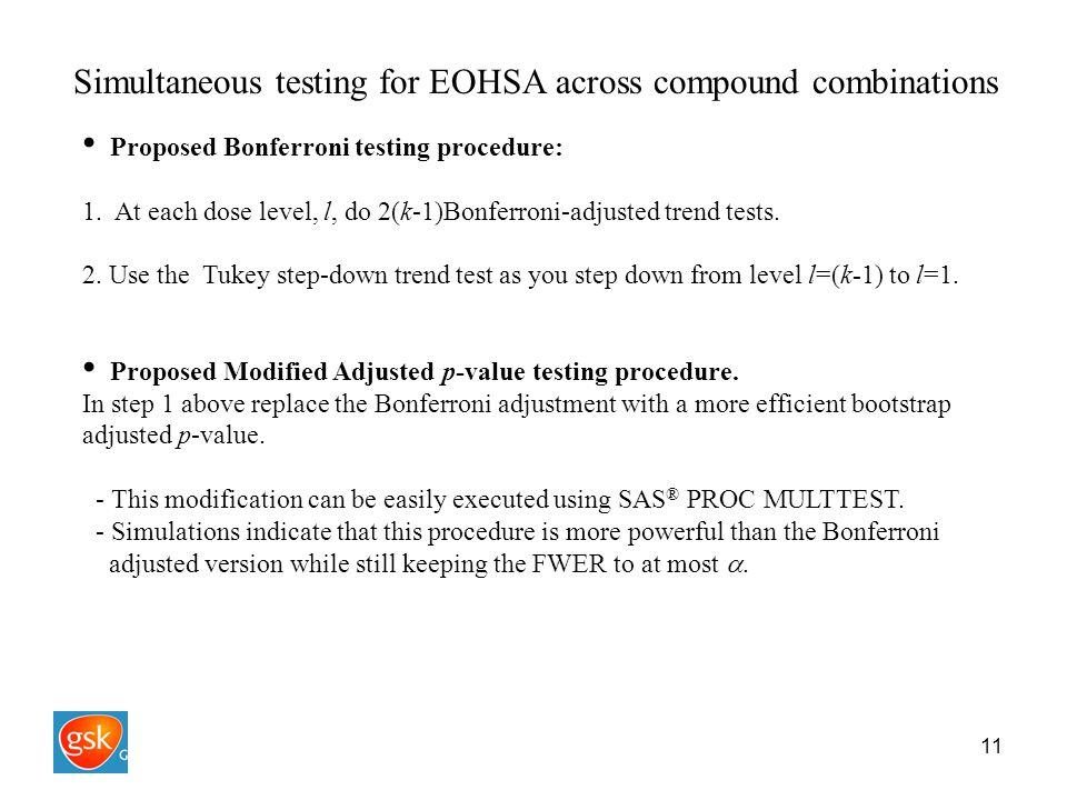 11 Simultaneous testing for EOHSA across compound combinations Proposed Bonferroni testing procedure: 1.