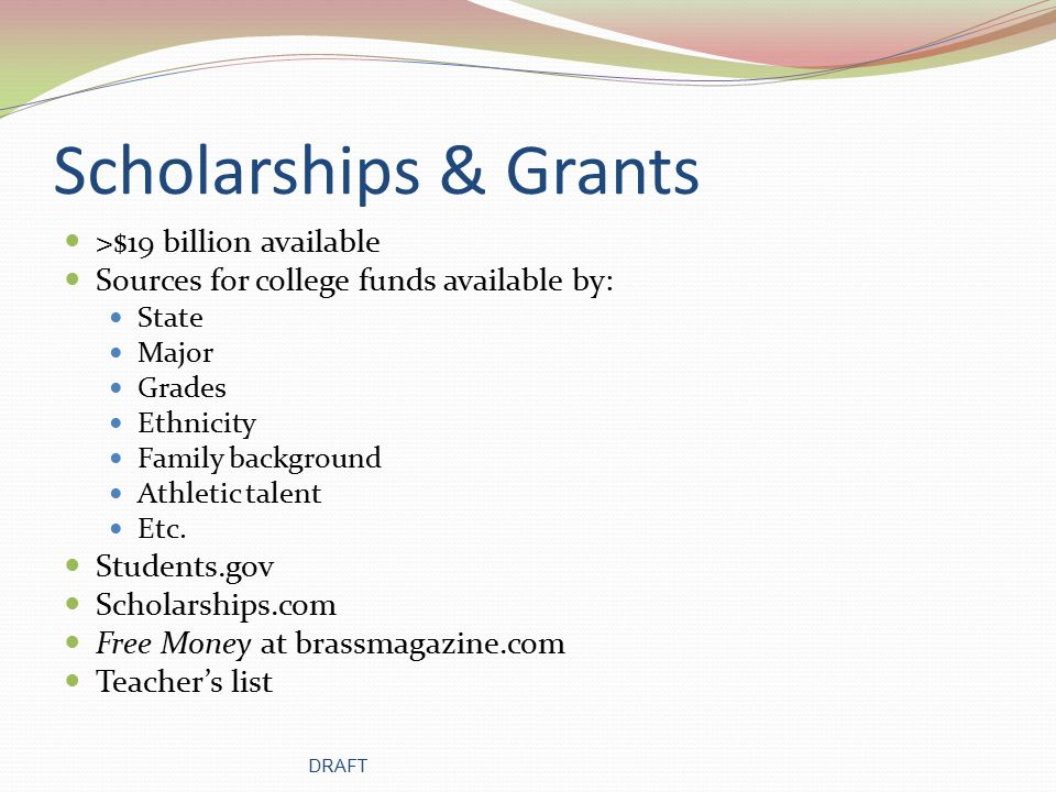 Scholarships Louisiana Community College Fastweb.com In-House - available for students at your high school only List of Scholarships DRAFT