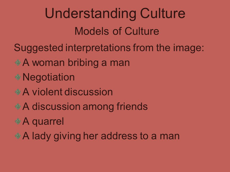 Understanding Culture Models of Culture Suggested interpretations from the image: A woman bribing a man Negotiation A violent discussion A discussion among friends A quarrel A lady giving her address to a man