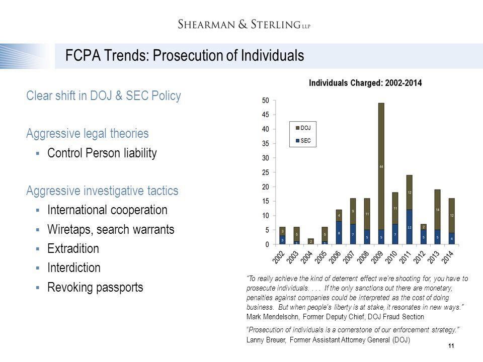 FCPA Trends: Prosecution of Individuals Clear shift in DOJ & SEC Policy Aggressive legal theories  Control Person liability Aggressive investigative
