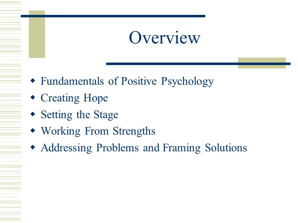 Overview  Fundamentals of Positive Psychology  Creating Hope  Setting the Stage  Working From Strengths  Addressing Problems and Framing Solution
