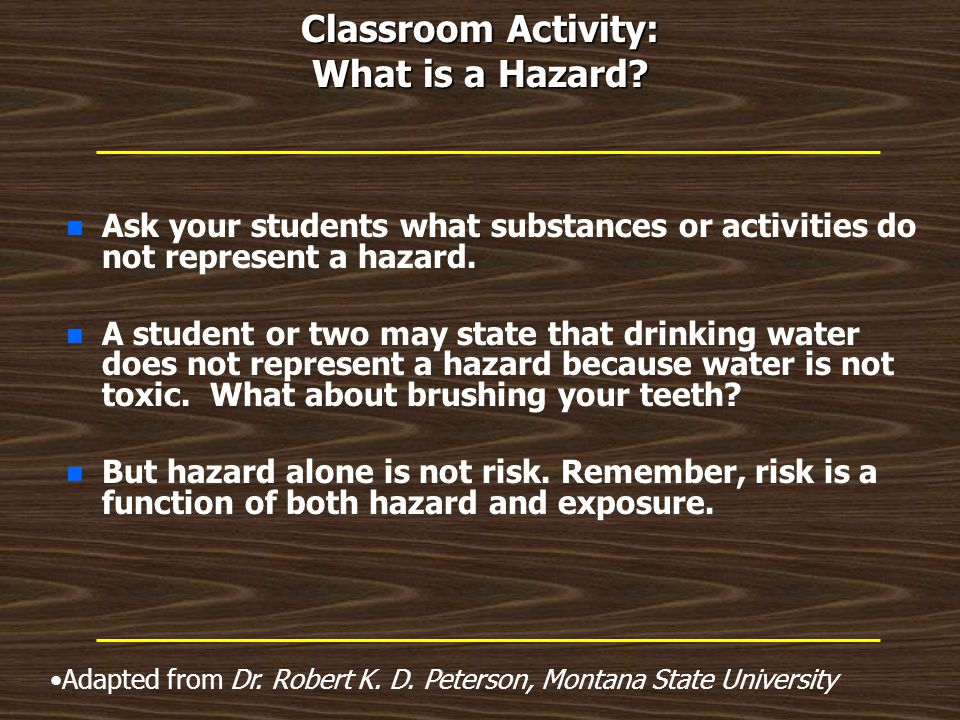 Classroom Activity: What is a Hazard.