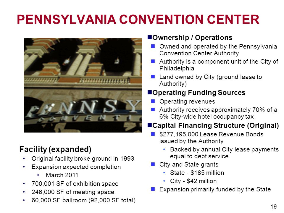 19 PENNSYLVANIA CONVENTION CENTER Ownership / Operations Owned and operated by the Pennsylvania Convention Center Authority Authority is a component u