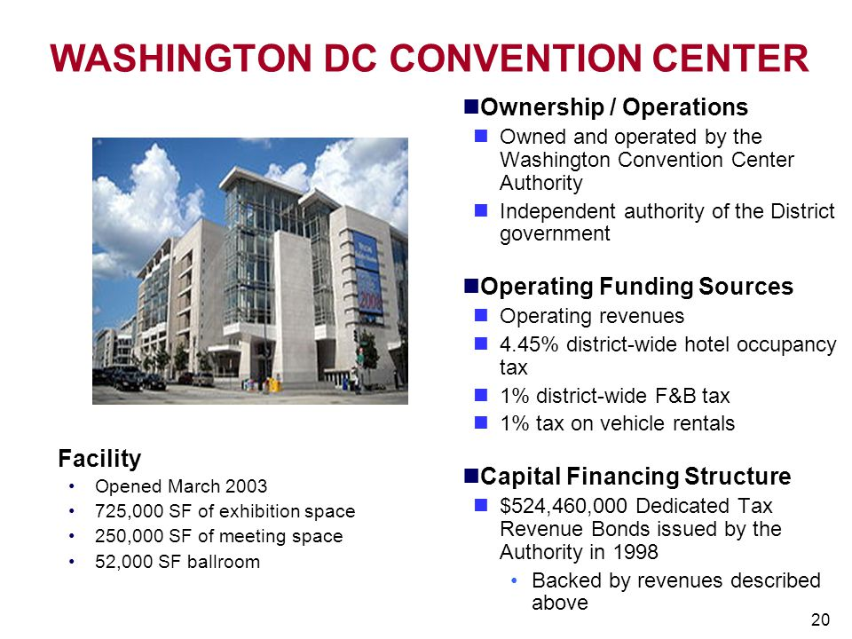20 WASHINGTON DC CONVENTION CENTER Ownership / Operations Owned and operated by the Washington Convention Center Authority Independent authority of th