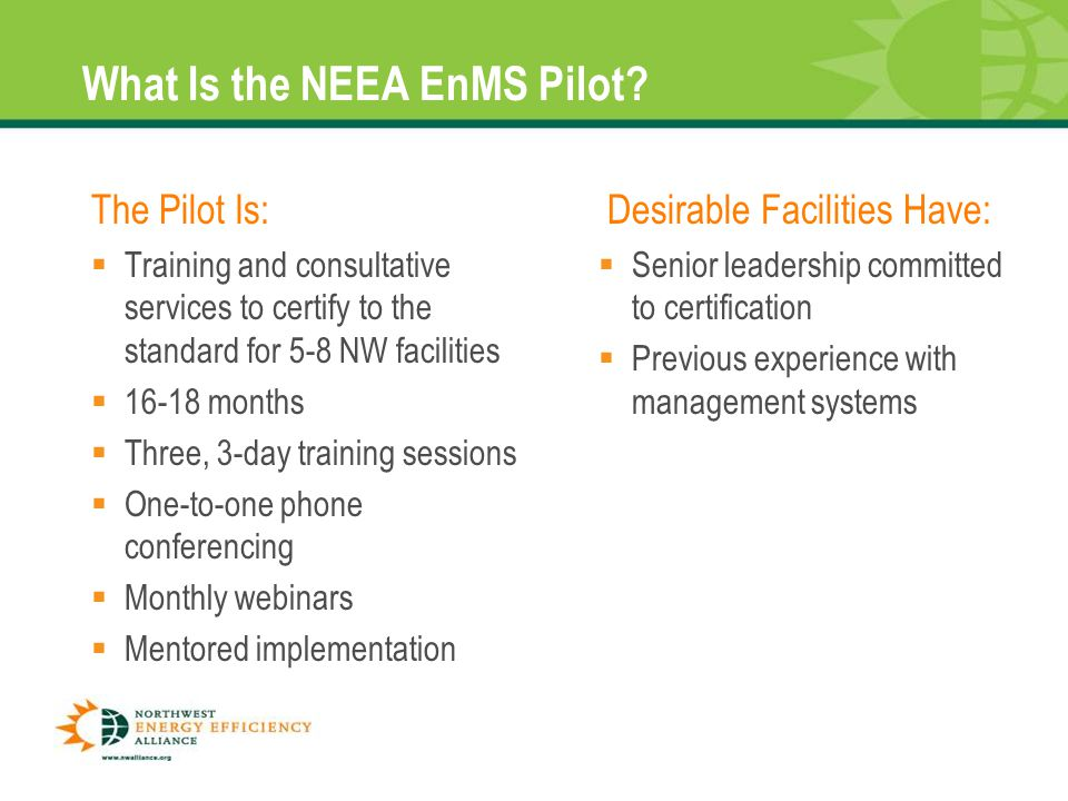 13 What Is the NEEA EnMS Pilot.