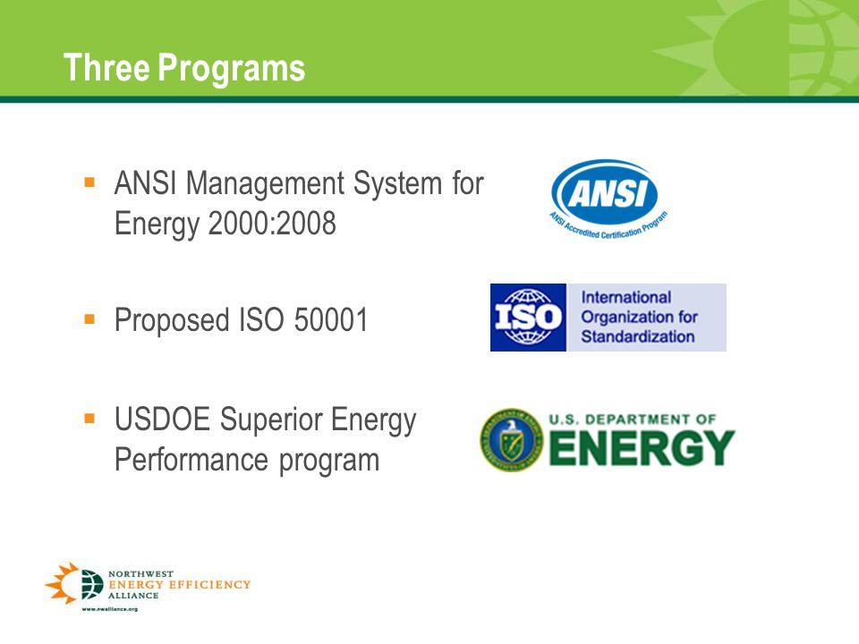 Three Programs  ANSI Management System for Energy 2000:2008 8  Proposed ISO 50001  USDOE Superior Energy Performance program