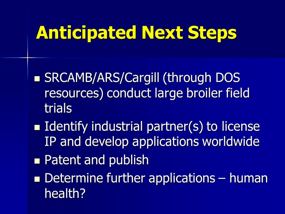 Anticipated Next Steps SRCAMB/ARS/Cargill (through DOS resources) conduct large broiler field trials SRCAMB/ARS/Cargill (through DOS resources) conduct large broiler field trials Identify industrial partner(s) to license IP and develop applications worldwide Identify industrial partner(s) to license IP and develop applications worldwide Patent and publish Patent and publish Determine further applications – human health.