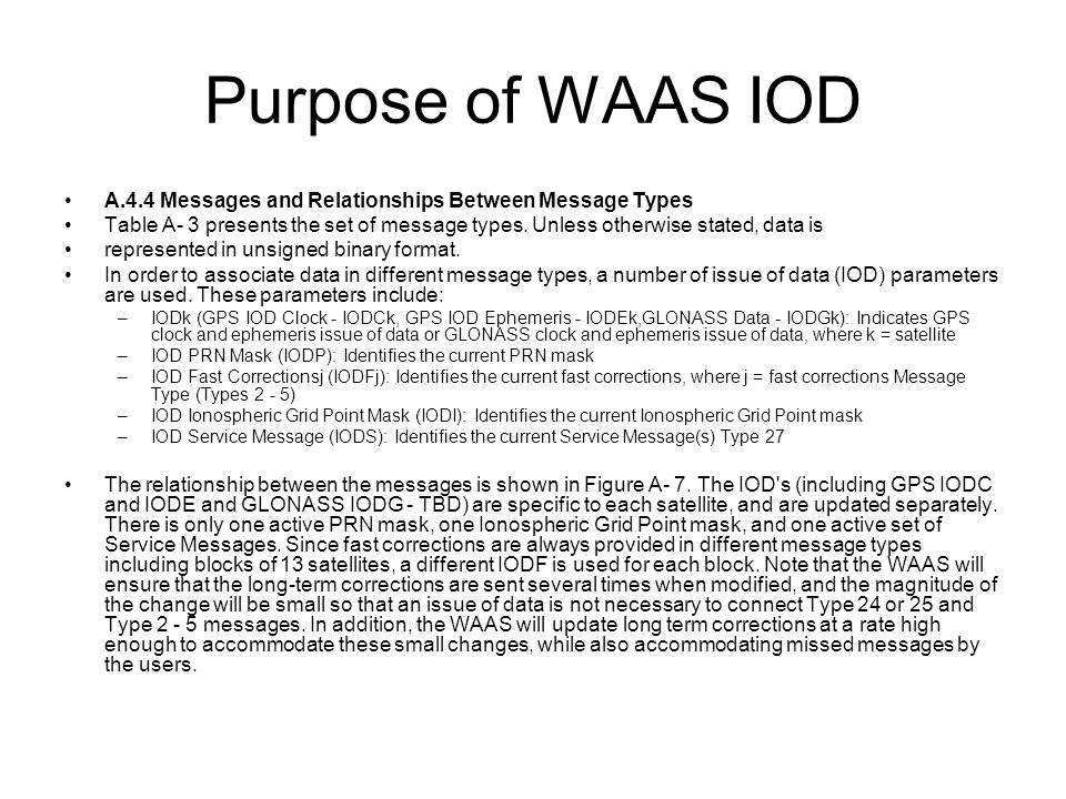 Purpose of WAAS IOD A.4.4 Messages and Relationships Between Message Types Table A- 3 presents the set of message types.
