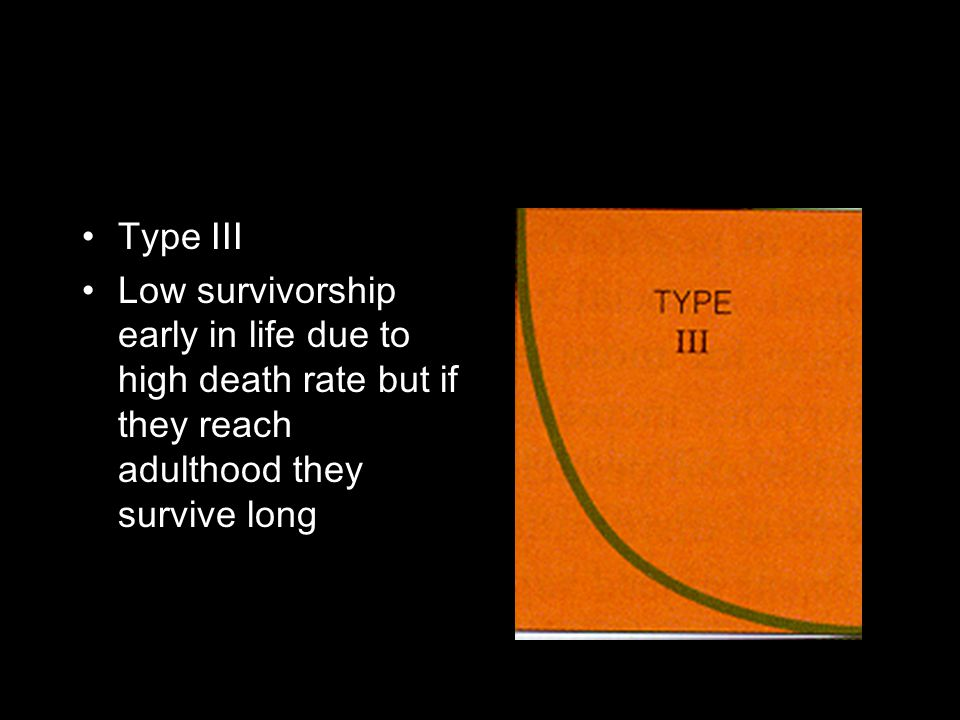 Type III Low survivorship early in life due to high death rate but if they reach adulthood they survive long