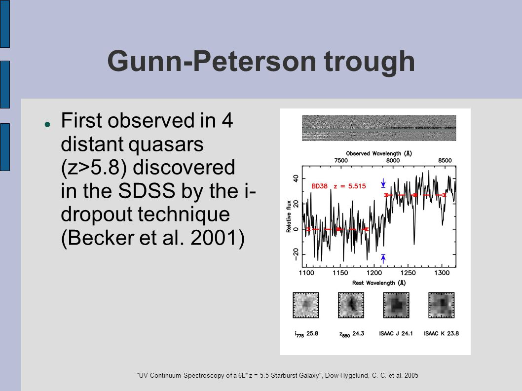 Gunn-Peterson trough First observed in 4 distant quasars (z>5.8) discovered in the SDSS by the i- dropout technique (Becker et al. 2001)‏
