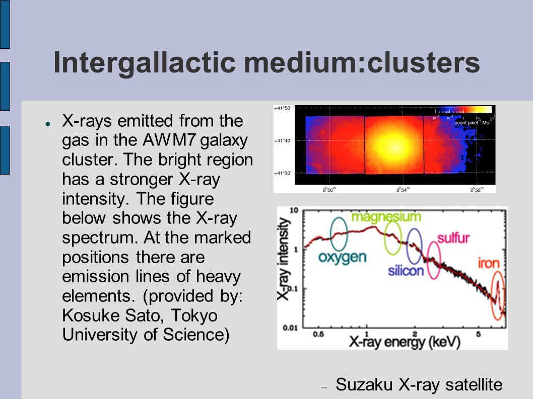 Intergallactic medium:clusters X-rays emitted from the gas in the AWM7 galaxy cluster.