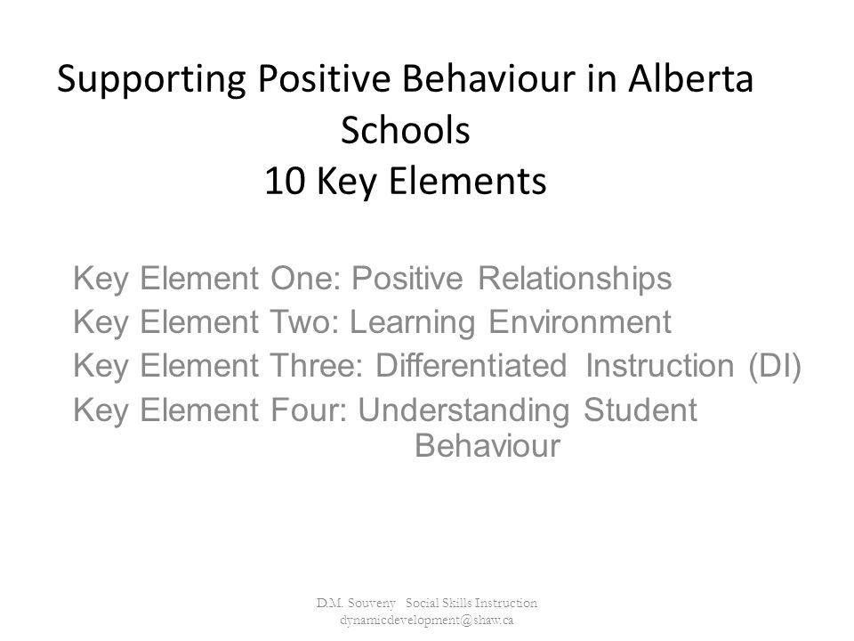 Supporting Positive Behaviour in Alberta Schools 10 Key Elements Key Element One: Positive Relationships Key Element Two: Learning Environment Key Element Three: Differentiated Instruction (DI) Key Element Four: Understanding Student Behaviour D.M.