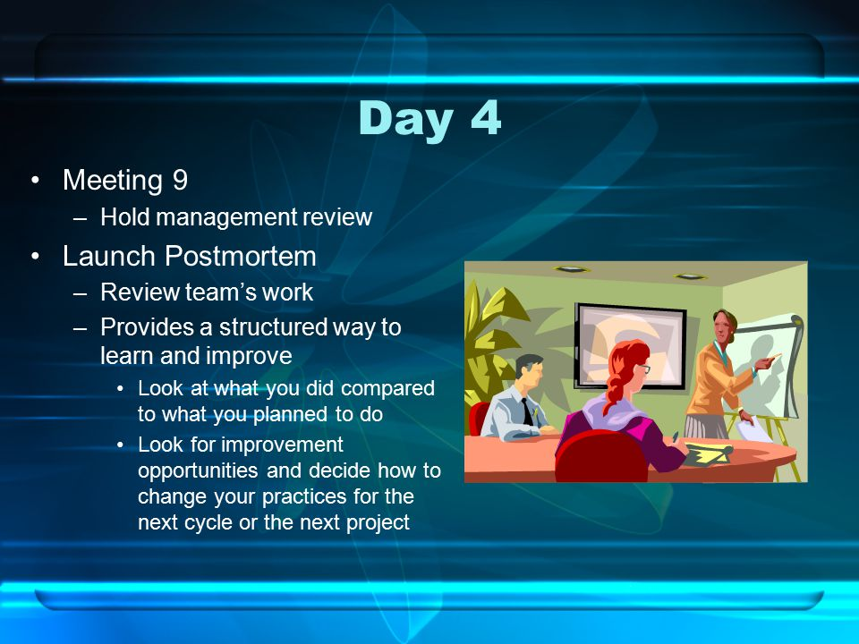 Day 4 Meeting 9 –Hold management review Launch Postmortem –Review team's work –Provides a structured way to learn and improve Look at what you did compared to what you planned to do Look for improvement opportunities and decide how to change your practices for the next cycle or the next project