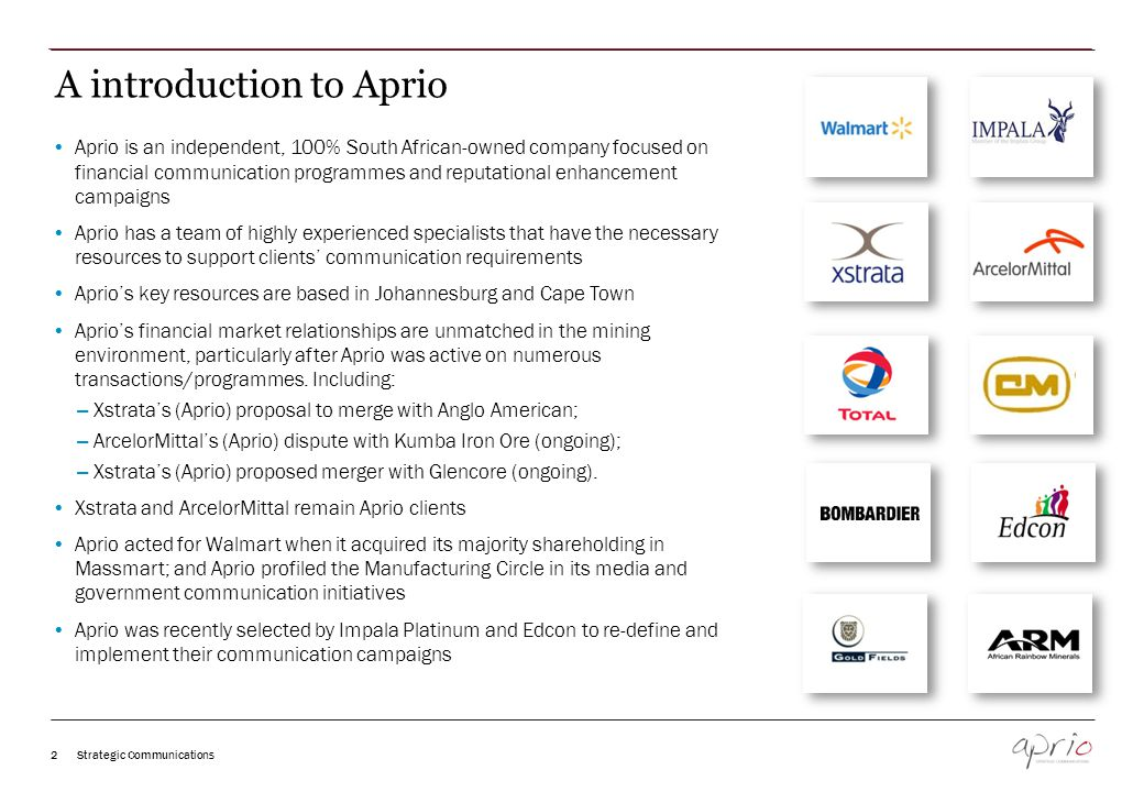 Access to Aprio's extensive media/opinion former network Manage the media strategy: Draft media releases and Q&A's; and Manage media invites, interviews and queries Manage all other media interactions.
