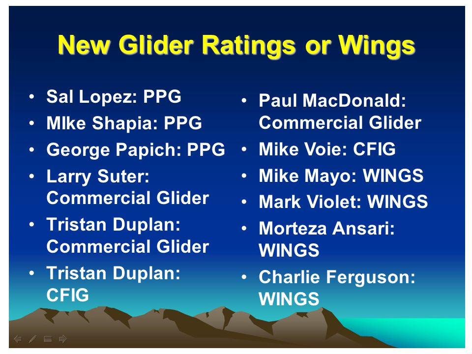 New Glider Ratings or Wings Sal Lopez: PPG MIke Shapia: PPG George Papich: PPG Larry Suter: Commercial Glider Tristan Duplan: Commercial Glider Tristan Duplan: CFIG Paul MacDonald: Commercial Glider Mike Voie: CFIG Mike Mayo: WINGS Mark Violet: WINGS Morteza Ansari: WINGS Charlie Ferguson: WINGS