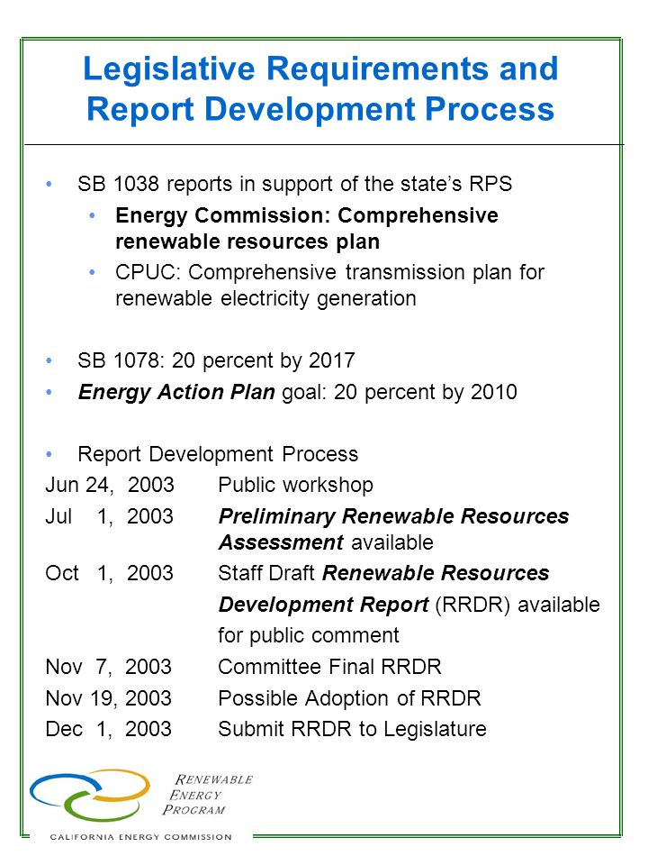 Renewable Energy: Goals and Potential for Statewide Retail Sales 262,150 GWh/yr* 29,965 GWh/yr Technical Potential 2003 (12%) 20% by 2010 55,170 GWh/yr 20% by 2017 60,980 GWh/yr *In addition, estimated potential for other WECC states is 3.7 million GWh/yr.