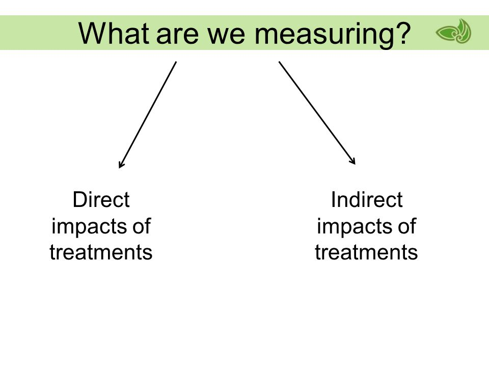What are we measuring Direct impacts of treatments Indirect impacts of treatments