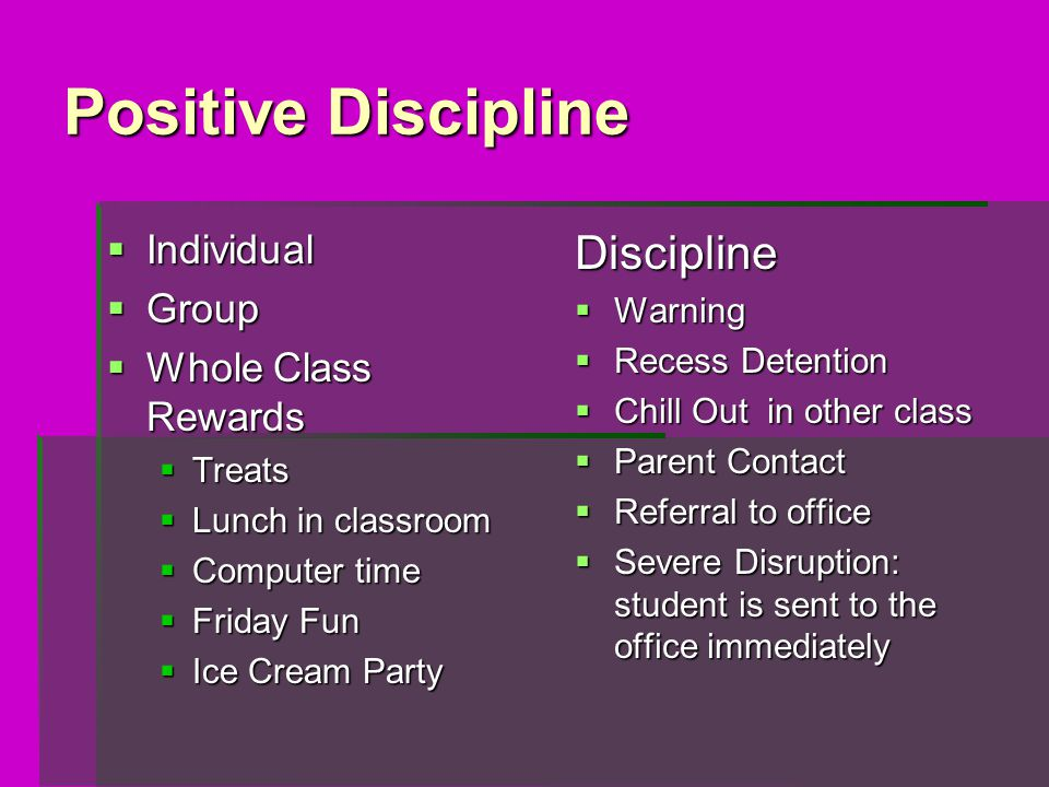 Positive Discipline  Individual  Group  Whole Class Rewards  Treats  Lunch in classroom  Computer time  Friday Fun  Ice Cream Party Discipline