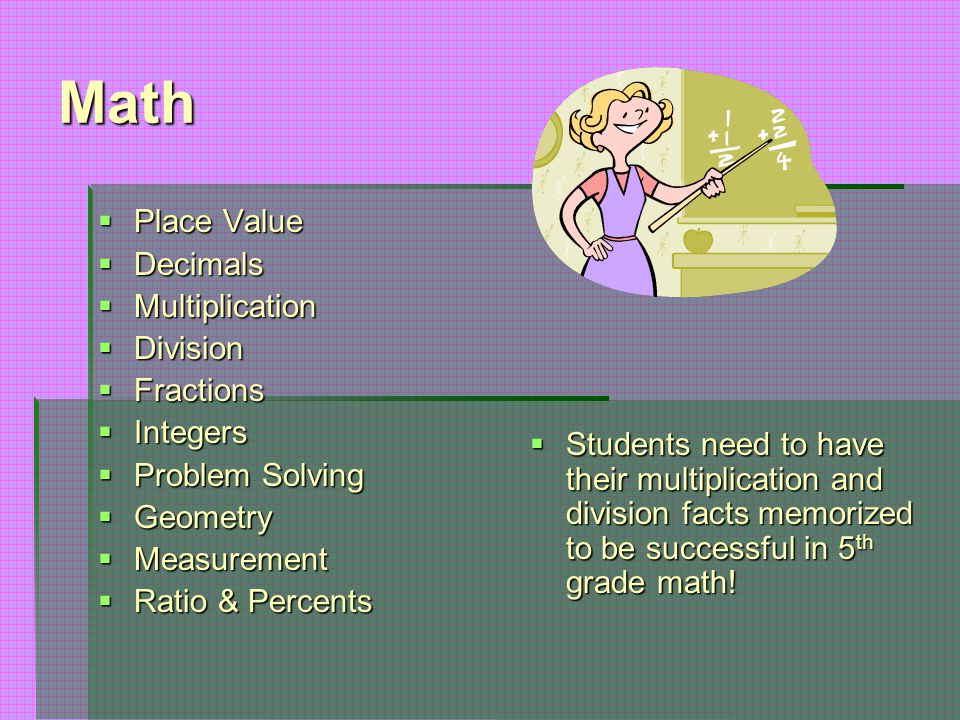 Math  Place Value  Decimals  Multiplication  Division  Fractions  Integers  Problem Solving  Geometry  Measurement  Ratio & Percents  Stude